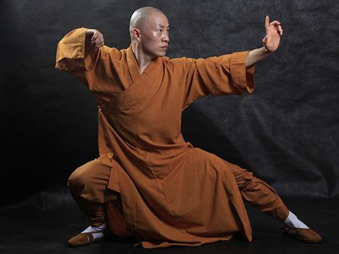 монах демонстрирует тайцзицюань, стиль долгожителей