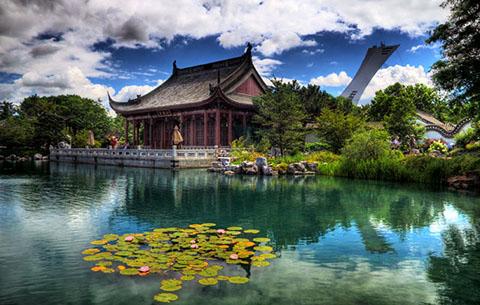 Красивый пейзаж китайского парка