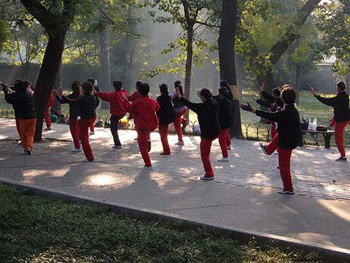 Фотография людей в парке занимающихся тайцзицюань