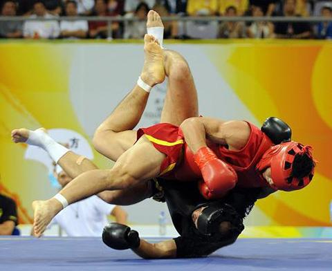 финальная фаза броска во время боя двух бойцов саньда