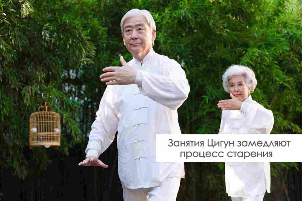 Пожилые люди занимаются цигун
