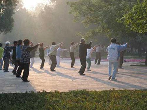Фотография утренней тренировки тайцзы в парке