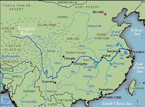 Карта с рекой Янцзы