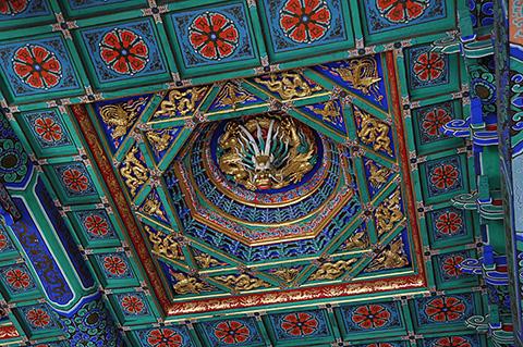 Фотография потолка с драконом